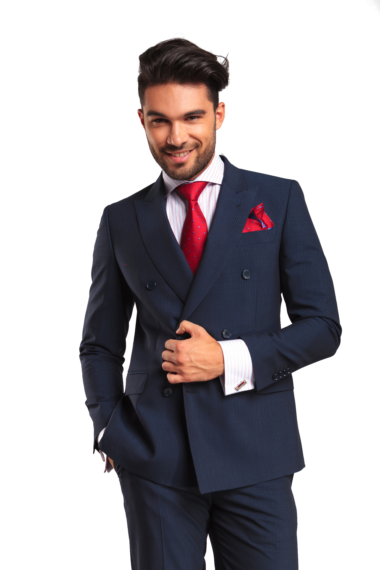 successful young business man in double breasted suit smiling at the camera